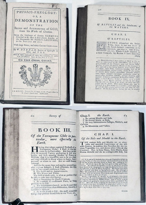 Rare Science Books: Derham, William; Physico-theology: or, A demonstration of the being and attributes of God, from his works of creation. 1714.