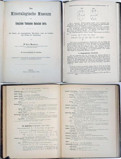 Rare Mineralogy Book: Hirschwald, Julius; Das Mineralogische Museum der Königlichen Technischen Hochschule Berlin. 1885.