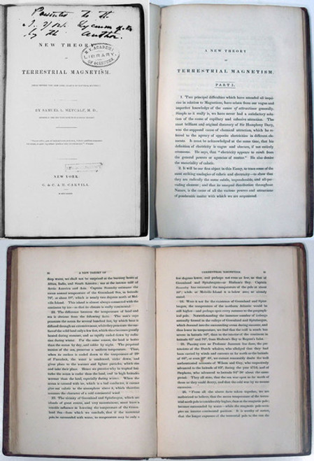 Rare Science Book: Metcalf Samuel Lytler; A New Theory of Terrestrial Magnetism. (Read before the New York Lyceum of Natural History.) 1833