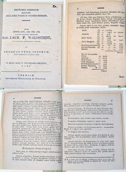 Rare Mineralogy Book: Idstrom, Andreas Fred.,  Walmstedt, Lars P.; Tentamen chemicum sistens analysin fossilis recens reperti....1813