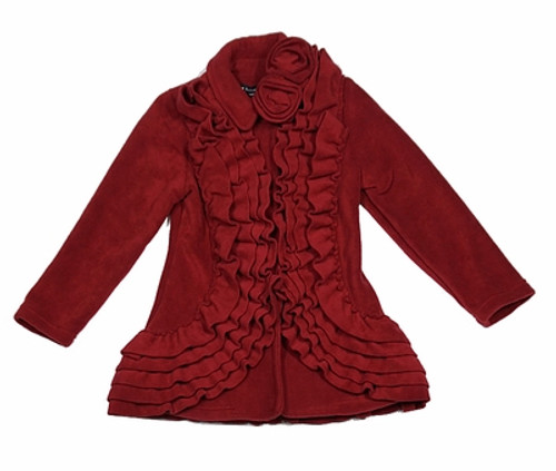 Ruffle Dress Coat in Red