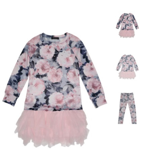 Indigo Rose Tulle Skirt Dress & Leggings Set