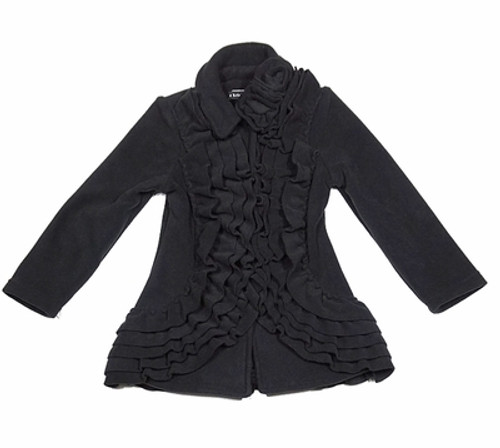 Ruffle Dress Coat in Black