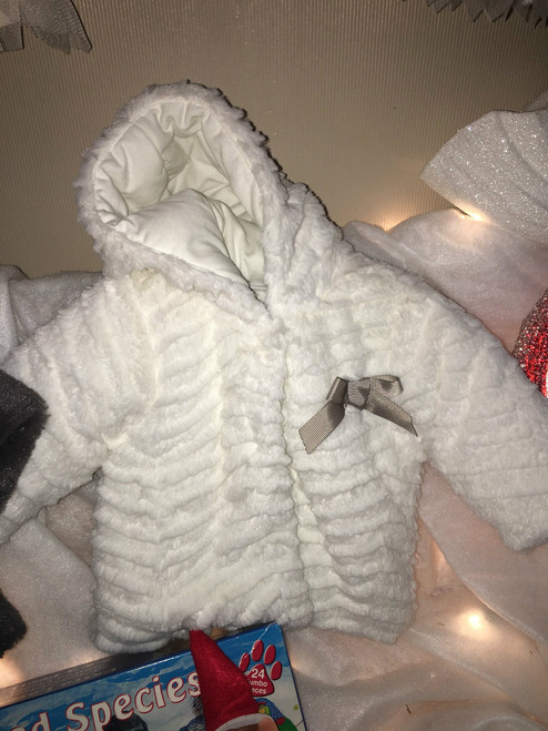 Baby white faux fur coat