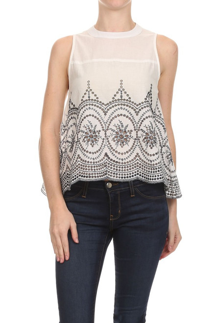See You Later Open Back Embroidered Top