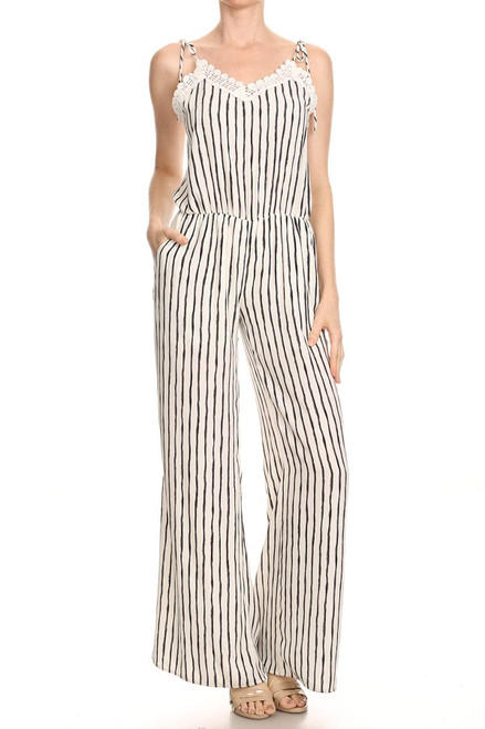 Sandy Pinstriped Romper With Lace Trim
