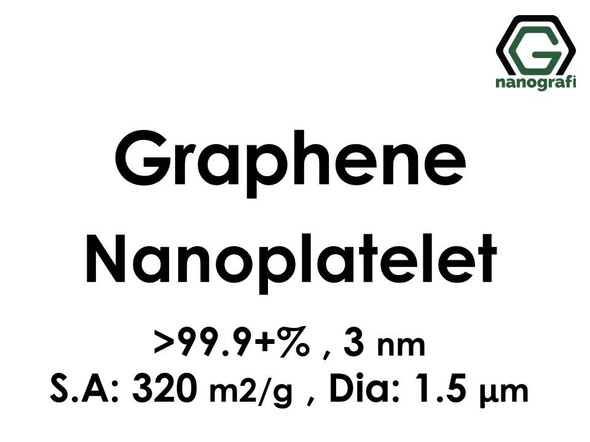 Graphene Nanoplatelet, Purity: 99.9+%, Size: 3 nm, S.A: 320 m2/g, Dia: 1.5 μm