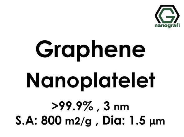 Graphene Nanoplatelet, 99.9%, 3 nm, S.A:800 m2/g Dia: 1.5μ