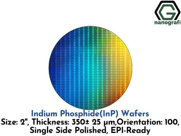 Indium Phosphide (InP) Wafers, Size: 2'', Thickness: 350±25 μm, Orientation: 100, Single Side Polished, EPI-Ready