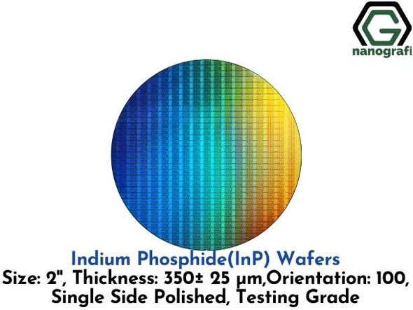Indium Phosphide (InP) Wafers, 2'' , Single Side Polished, 100, Thickness: 350± 25 μm, Testing Grade