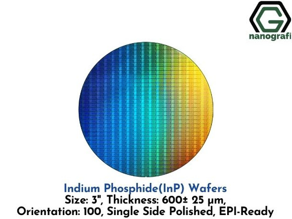 Indium Phosphide (InP) Wafers, Size: 3'', Thickness: 600± 25 μm, Orientation: 100, Single Side Polished, EPI-Ready