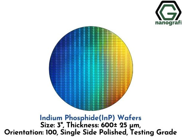 Indium Phosphide (InP) Wafers, 3'' , Single Side Polished, 100, Thickness: 600± 25 μm, Testing Grade