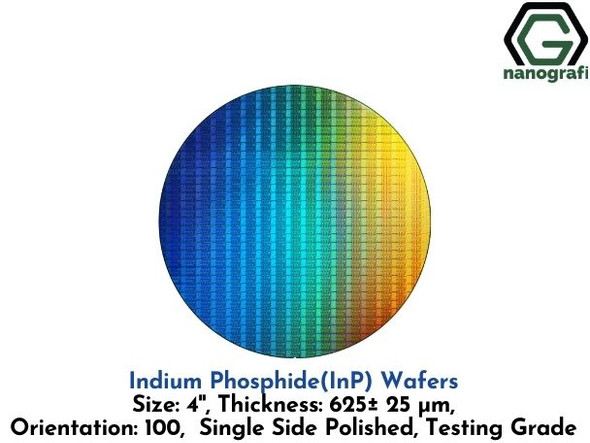 Indium Phosphide (InP) Wafers, 4'' , Single Side Polished, 100, Thickness: 625± 25 μm, Testing Grade