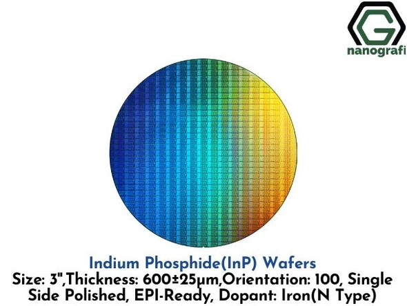 Indium Phosphide (InP) Wafers, 3'' , Single Side Polished, 100, Thickness: 600± 25 μm, EPI-Ready, Dopant: Iron (N Type)