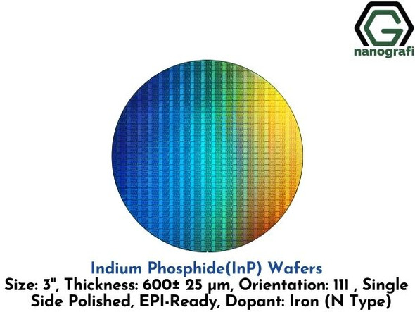 Indium Phosphide (InP) Wafers, 3'' , Single Side Polished, 111, Thickness: 600± 25 μm, EPI-Ready, Dopant: Iron (N Type)