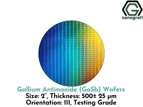 "Gallium Antimonide (GaSb) Wafers, 2"", Thickness:500± 25 μm, Orientation: 111, Testing Grade"
