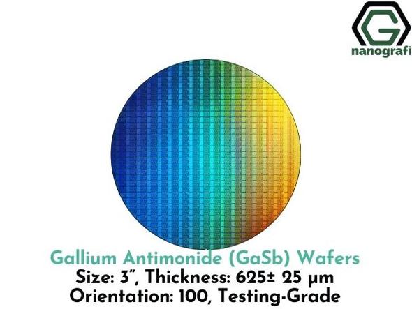 "Gallium Antimonide (GaSb) Wafers, 3"", Thickness: 625± 25 μm, Orientation: 100, Testing Grade"
