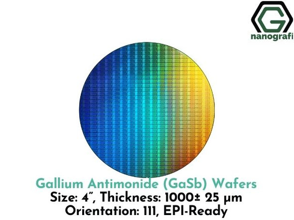 "Gallium Antimonide (GaSb) Wafers, 4"", Thickness: 1000± 25 μm, Orientation: 111, EPI-Ready"