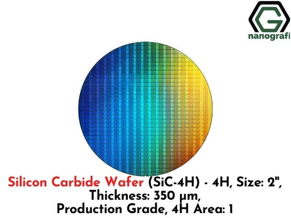 Silicon Carbide Wafer (SiC-4H) - 4H, Size: 2'', Thickness: 350 μm, Production Grade, 4H Area: 1