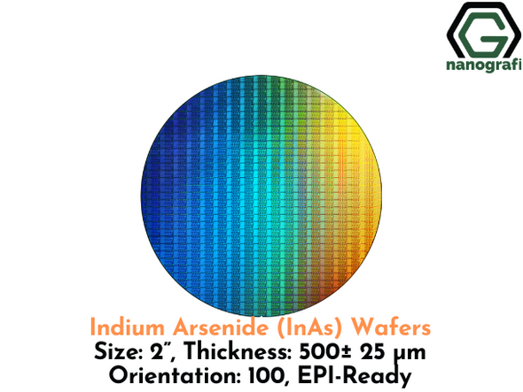 "Indium Arsenide (InAs) Wafers, 2"", Thickness: 500± 25 μm, Orientation: 100, EPI-Ready"