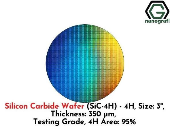 Silicon Carbide Wafer (SiC-4H) - 4H, Size: 3'', Thickness: 350 μm, Testing Grade, 4H Area: 95%