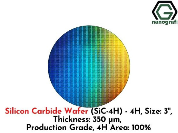 Silicon Carbide Wafer (SiC-4H) - 4H, Size: 3'', Thickness: 350 μm, Production Grade, 4H Area: 100%