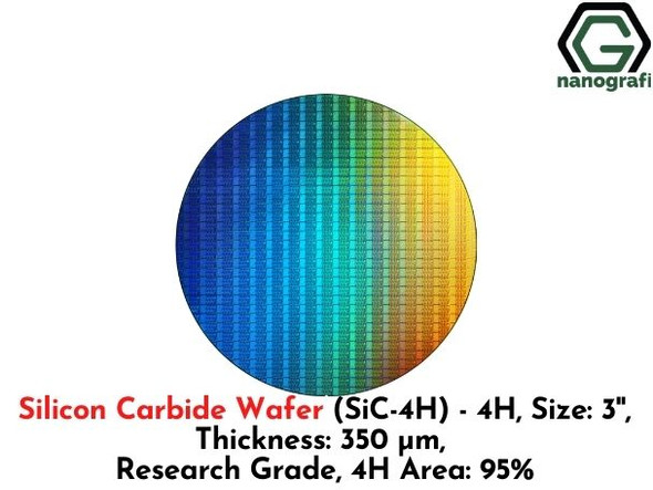 Silicon Carbide Wafer (SiC-4H) - 4H, Size: 3'', Thickness: 350 μm, Research Grade, 4H Area: 95%
