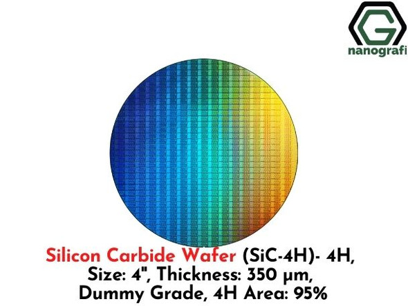 Silicon Carbide Wafer (SiC-4H)- 4H , Size: 4'', Thickness: 350 μm, Dummy Grade, 4H Area: 95%