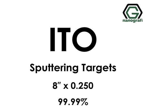 Indium Tin Oxide, ITO (In203:Sn02) Sputtering Targets, Size:8'' ,Thickness:0.250'' , Purity: 99.99%