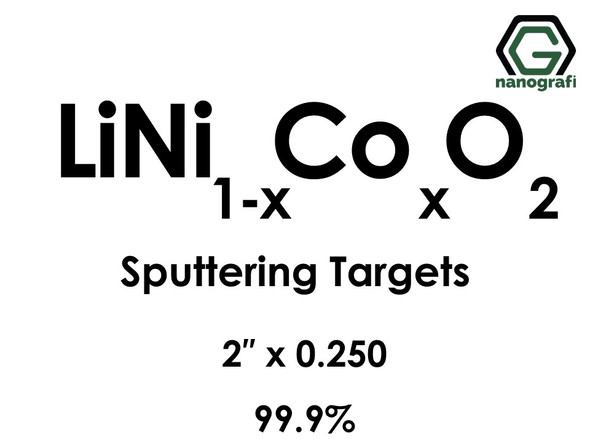 Lithium Nickel Cobalt Oxide (LiNi(1-x)CoxO2) Sputtering Targets, Size:2'' ,Thickness:0.250'' , Purity: 99.9%