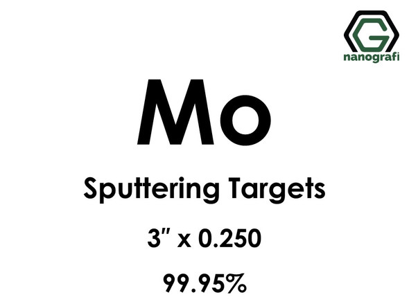 Molybdenum (Mo) Sputtering Targets, Size:3'' ,Thickness:0.250'' , Purity: 99.95%
