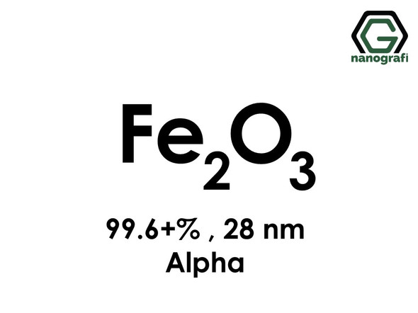 Iron Oxide (Fe2O3) Nanopowder/Nanoparticles, Alpha, High Purity: 99.6+%, Size: 28 nm