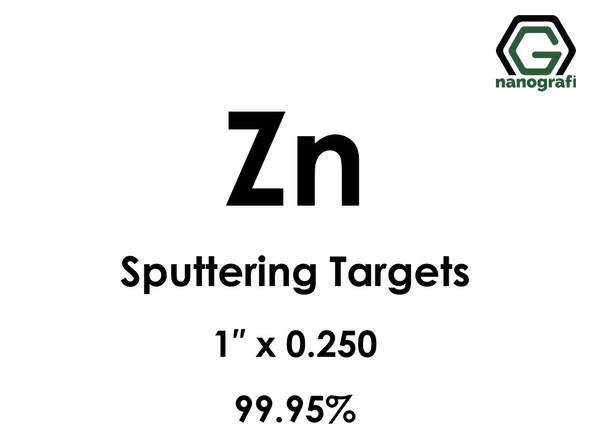 Zinc (Zn) Sputtering Targets, Size:1'' ,Thickness:0.250'' , Purity: 99.95%