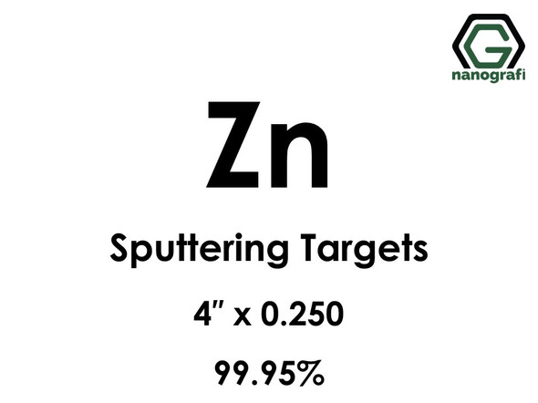 Zinc (Zn) Sputtering Targets, Size:4'' ,Thickness:0.250'' , Purity: 99.95%