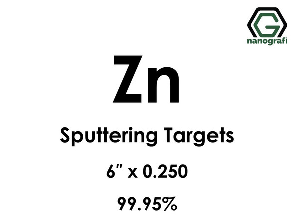Zinc (Zn) Sputtering Targets, Size:6'' ,Thickness:0.250'' , Purity: 99.95%
