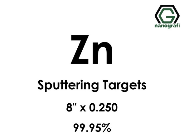 Zinc (Zn) Sputtering Targets, Size:8'' ,Thickness:0.250'' , Purity: 99.95%