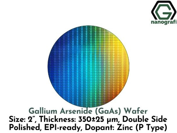 "Gallium Arsenide (GaAs) Wafers, Size: 2"", Thickness: 350±25 μm, Double Side Polished, EPI-ready, Dopant: Zinc (P Type)"