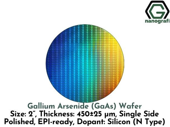 "Gallium Arsenide (GaAs) Wafers, Size: 2"", Thickness: 450±25 μm, Single Side Polished, EPI-ready, Dopant: Silicon (N Type)"