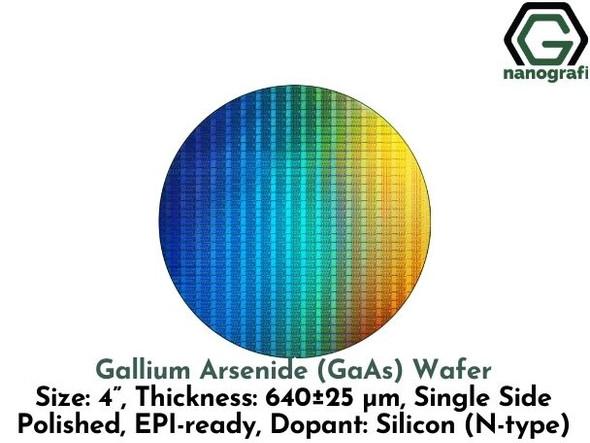 "Gallium Arsenide (GaAs) Wafers, Size: 4"", Thickness: 640±25 μm, Single Side Polished, EPI-ready, Dopant: Silicon (N-type)"