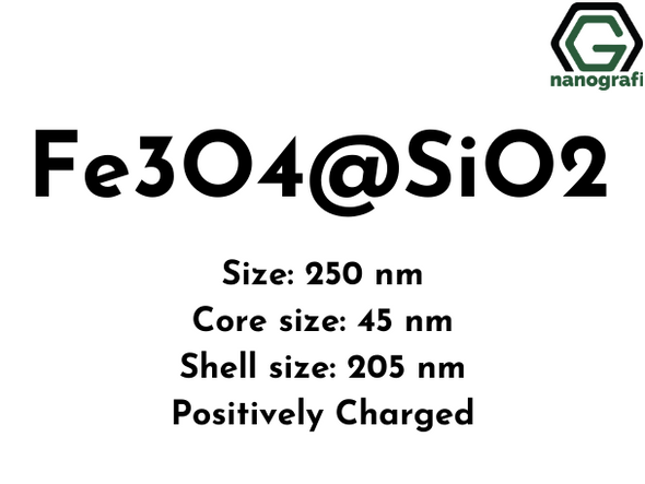 Magnetic Fe3O4@SiO2 powder, Size: 250 nm, Core size: 45 nm, Shell size: 205 nm, Positively-charged
