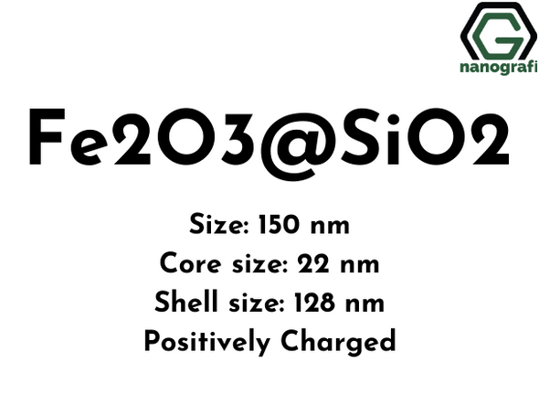 Magnetic Fe2O3@SiO2 powder, Size: 150 nm, Core size: 22 nm, Shell size: 128 nm, Positively-charged