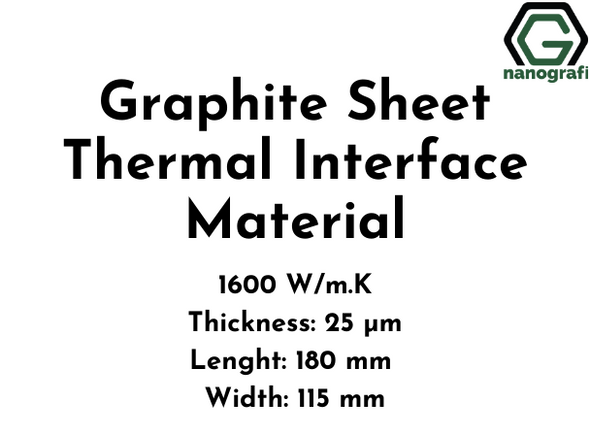 Graphite Sheet Thermal Interface Material,  EYG Series, 1600 W/m.K, Thickness: 25 µm, Lenght: 180 mm, Width: 115 mm
