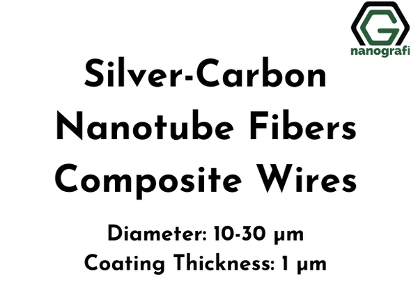 Silver-Carbon Nanotube Fibers Composite Wires, Ag-CNT, Diameter: 10-30 µm, Coating Thickness: 1 µm, Electrical conductivity: 1.5x10^7 S/m