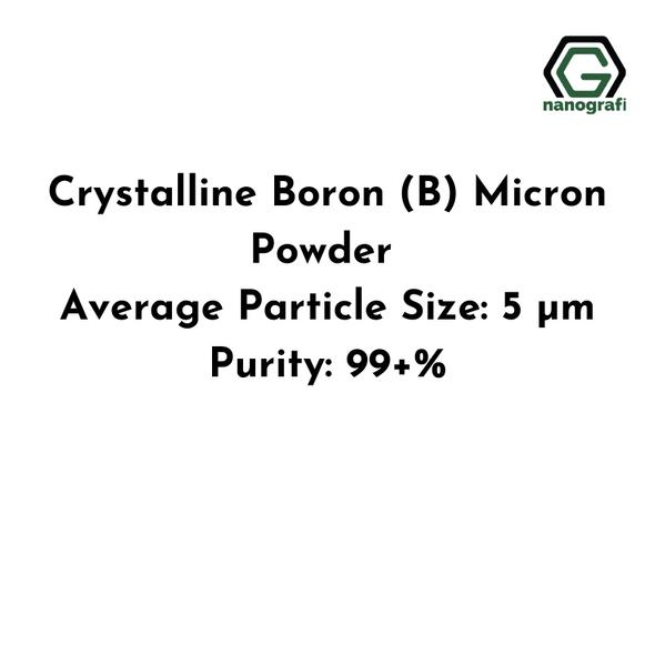 Crystalline Boron (B) Micron Powder, Average Particle Size: 5 µm, Purity: 99+%