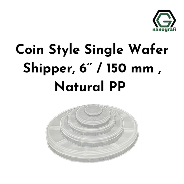 Coin Style Single Wafer Shipper, 6'' / 150 mm , Natural PP