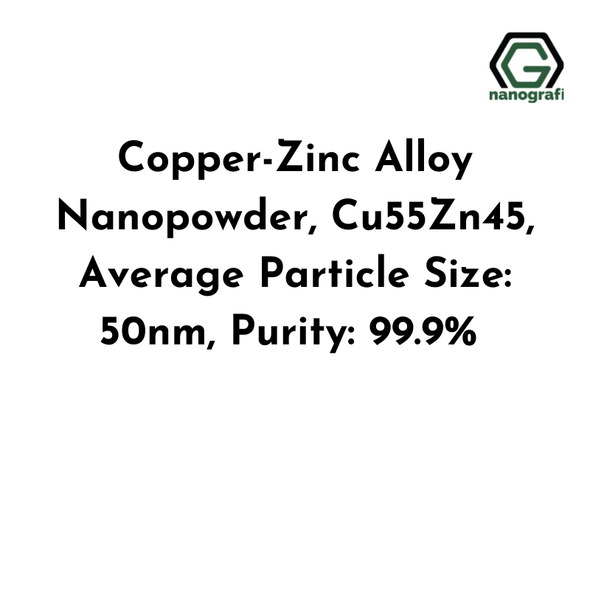 Copper-Zinc Alloy Nanopowder, Cu55Zn45, Average Particle Size: 50nm, Purity: 99.9%