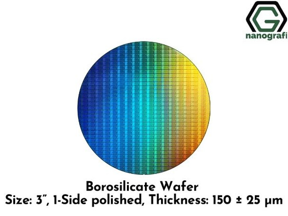 "Borosilicate Wafer, Size: 3"", 1-Side polished, Thickness: 150 ± 25 μm"