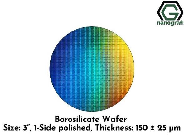 "Borosilicate Wafer, Size: 3"", 1-Side polished, Thickness: 150 ± 25 μm"