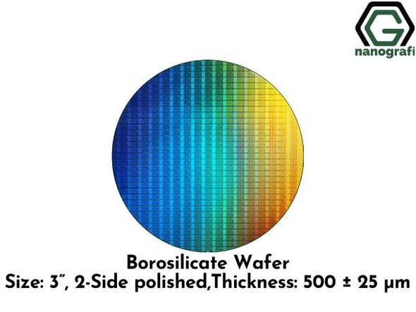 "Borosilicate Wafer, Size: 3"", 2-Side polished, Thickness: 500 ± 25 μm"