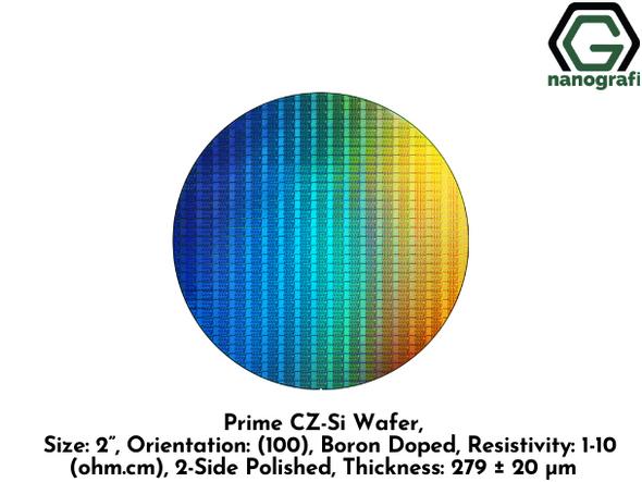 "Prime CZ-Si Wafer, Size: 2"", Orientation: (100), Boron Doped, Resistivity: 1-10 (ohm.cm), 2-Side Polished, Thickness: 279 ± 20 μm"